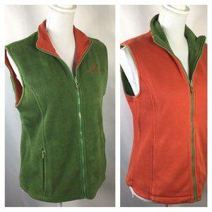 Reversible Vest~Green Fleece~Orange Thermal~Zip~